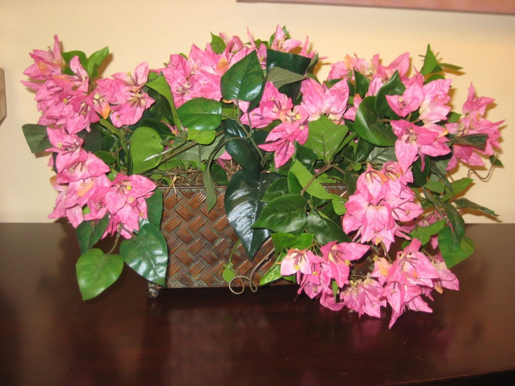 * SIL Pink Bougainvillea in a Basket Weave Metal Planter
